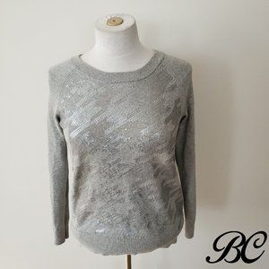 Banana Republic Sweater Pullover Gray Knit Sequins